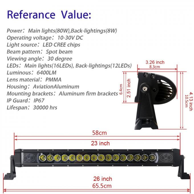 23 Inch 80w LED Backlight Car Light Bar 6400Lm Spot Beam For Jeep SUV ATV Offroad Boat