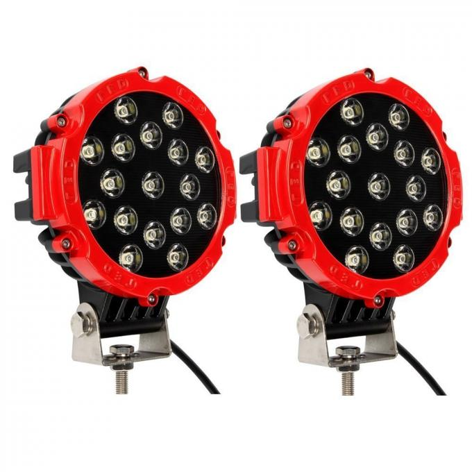 "51W 7"" Red Flood Round LED Work Light Off-road Fog Driving Roof Bumper for SUV Boat Jeep Lamp"