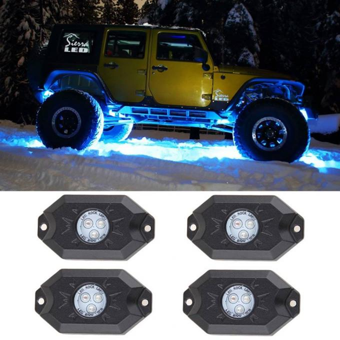 IP 68 RGB Bluetooth control Jeep Wrangler Led Rock Light Kit  RGB Color Changing Rock Lights