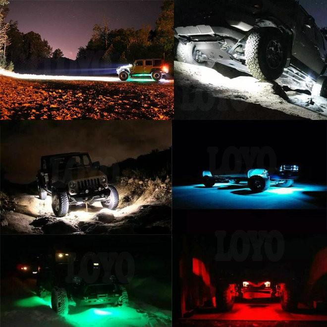 DC 9 - 30V 8 Pods Rock Lights For Trucks with Bluetooth Remote Controller