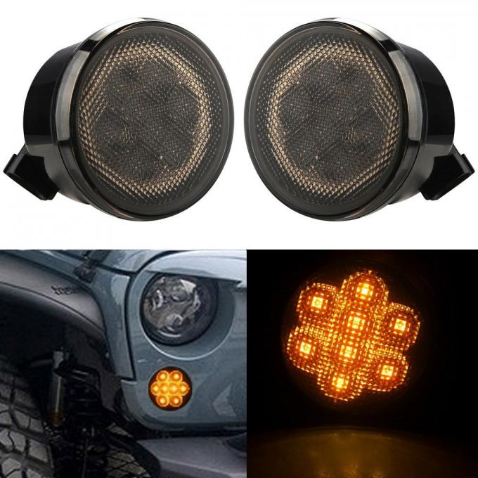 Hottest Front Fender for JEEP Wrangler 07-15 smoked clear lens turn signal amber led lights