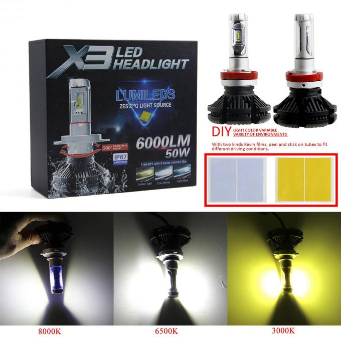 Hot sale h4 h7 car led headlight X3 50W ZES 2nd G light source 9005 9006 led head light