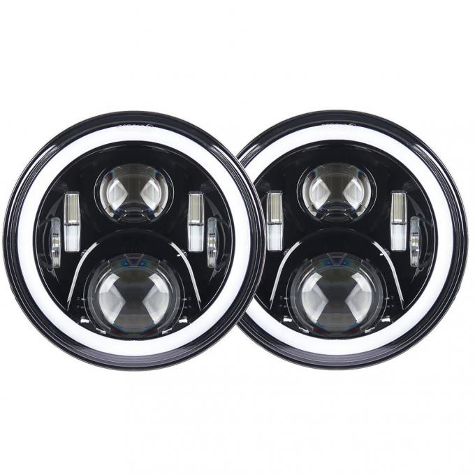 7 inch led fog light 70W With Angel eyes high/low Beam Pattern with RGB  Bluetooth controller for Jeep