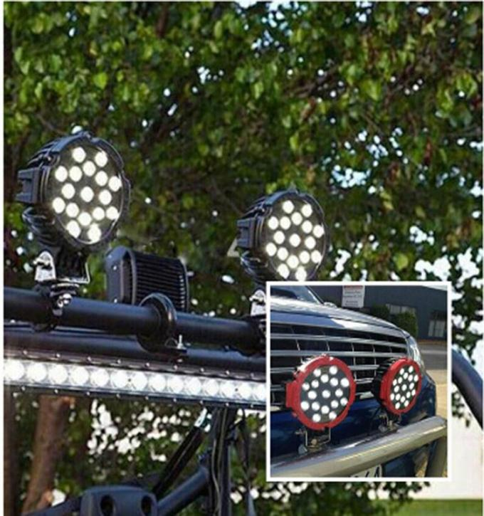 New Round led work lamp 12V 24V 3800lm 51W Red 7inch led work light for Truck, offroad vehicle 4x4