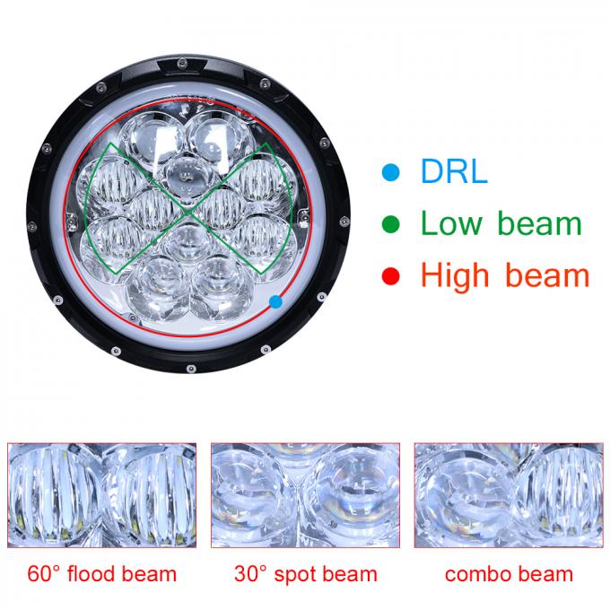 60W 5D RGB Jeep Wrangler Headlights with APP Control Multi - Color Bluetooth Remote