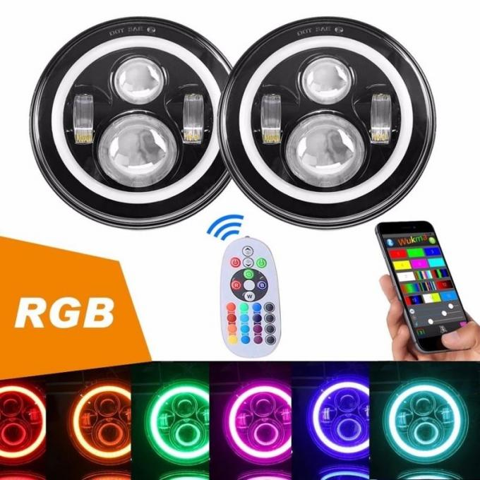 Diecast Aluminum 40W Jeep Wrangler Headlights With RGB Bluetooth Controller
