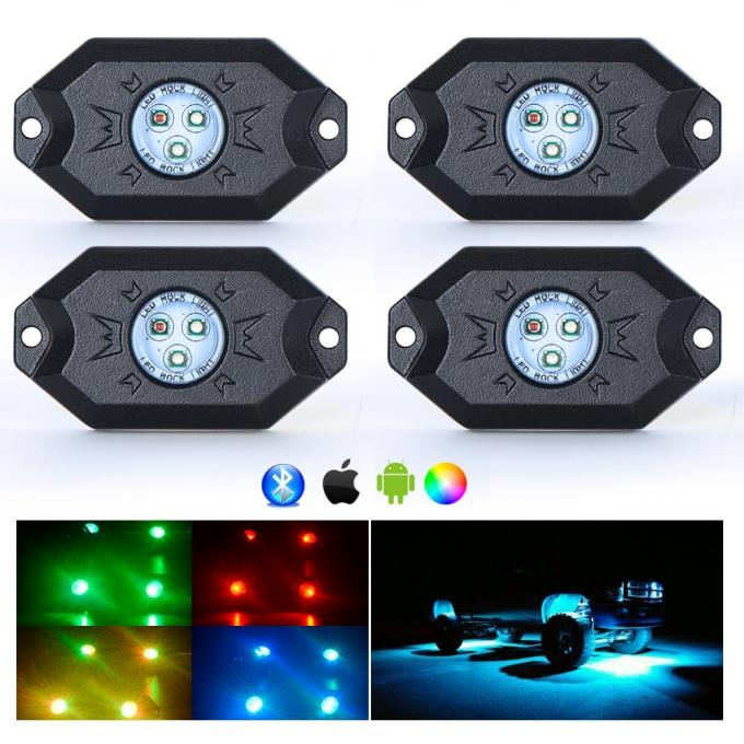 Off Road Vehicle LED Rock Light RGB Bluetooth Control 2880 Lumens 4pcs Per Set