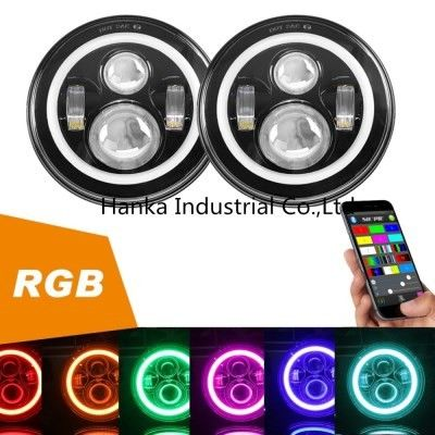 China 70W RGB Jeep Led Headlights , High / Low Beam 3700lm Led Car Headlights supplier