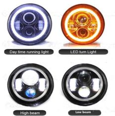 China 7 Inch Jeep Wrangler Car LED Headlights Angel Eyes Diecast Aluminum Housing supplier