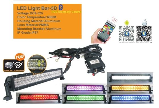 China 50 Inch RGB Car Light Bar With Bluetooth App 5D Projector Lens Combo Beam supplier