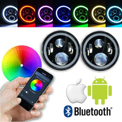 China 7 Inch Round RGB LED Headlights Bluetooth Phone APP Control High Low Beam supplier