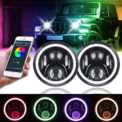 China 7 Inch Round Halo Car Lights For Jeep Wrangler Bluetooth Phone Control supplier