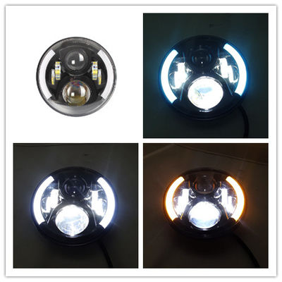 China 7 Inch 70W Round 3700 LM Jeep Wrangler Headlights With Half Halo Ring Angel Eye supplier
