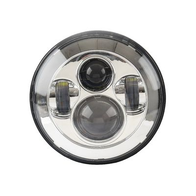 China Black Frame Motorcycle Jeep Wrangler Headlights with High / Low Beam 6000K supplier