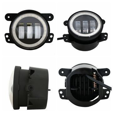 China Black aluminum 4 Inch 30W Led Fog Lights DC12-15V  For Trucks Harley Motorcycles Stainless Steel Bracket factory