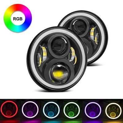 7 Inch Round RGB Halo Car Lights Bluetooth Control Headlights High / Low Beam For Driving Light