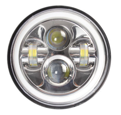 7 Inch LED Headlights Lights Bright White / Amber Turn Signal With Halo Ring