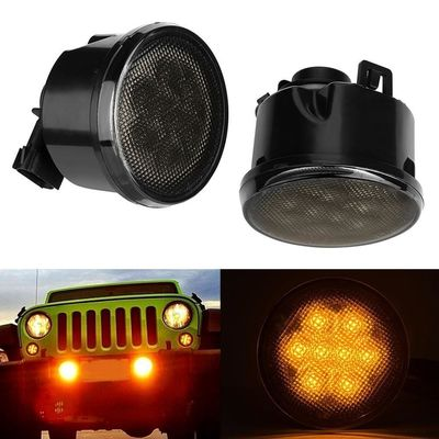 Firebug Amber LED Turn Signal Light Smoke Lens Front Grill for Jeep Wrangler JK