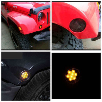 IP 68 Jeep Wrangler Headlights , 2x Smoked LED Front Fender Flare Turn Signal Side Marker Light