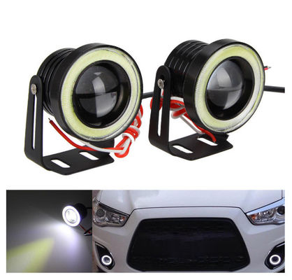 Waterproof LED Auto Headlight Lighting Fog Light With Lens Halo Angel Eyes Rings COB 30W 12V