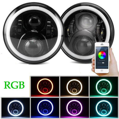 3700lm Cree 70 W RGB LED Halo Headlights For Jeep Wrangler JK Bluetooth App Control