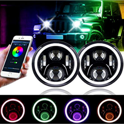 3700lm Jeep Wrangler Headlights , 7 Inch Round LED Headlights RGB Halo with Angel Eyes