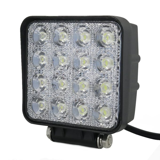 48W Flood LED Vehicle Work Light Square Off-Road Bulb Lamp For Jeep Cabin Boat SUV Truck Car ATVs