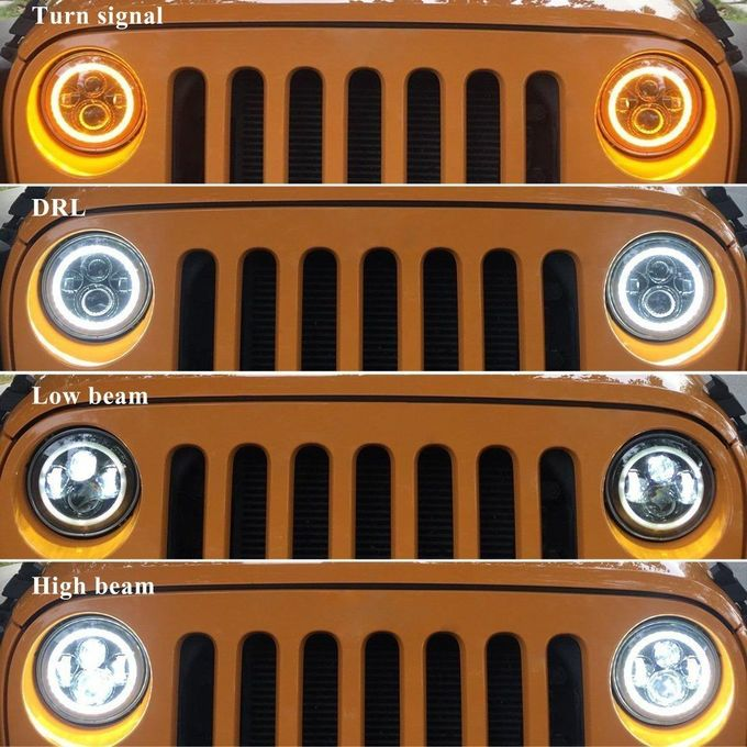 7''  70W 3700lm 6000K RGB Bluetooth Controller Round LED Headlight For Jeep 97-16 Wrangler JK LJ TJ Hummer Land Rover