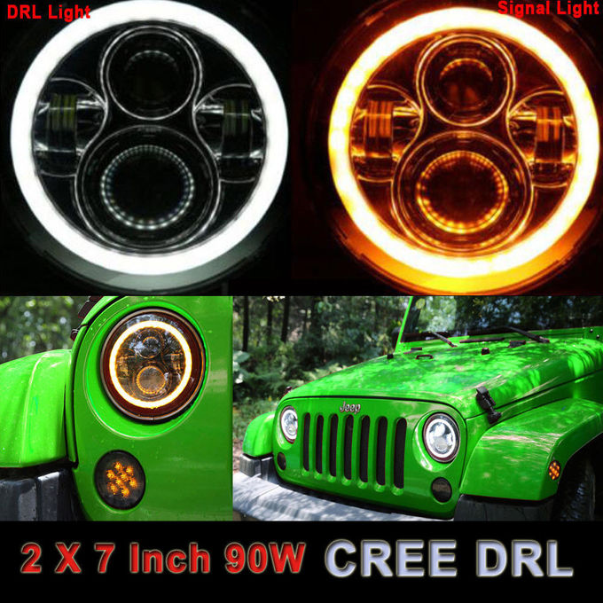 7 inch with 70w RGB Bluetooth controller Round LED Headlight For Jeep Wrangler JK LJ TJ Hummer Land Rover off road