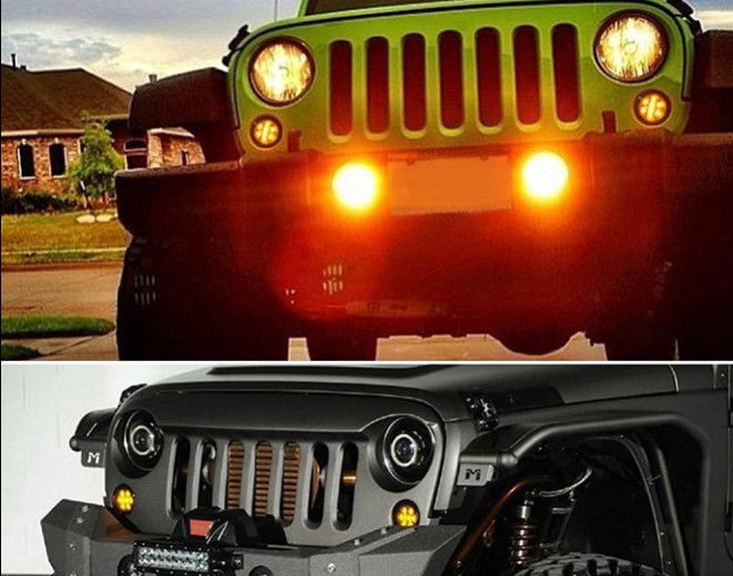 Waterproof Firebug Amber LED Turn Signal Light Smoke Lens Front Grill headlight for Jeep Wrangler JK