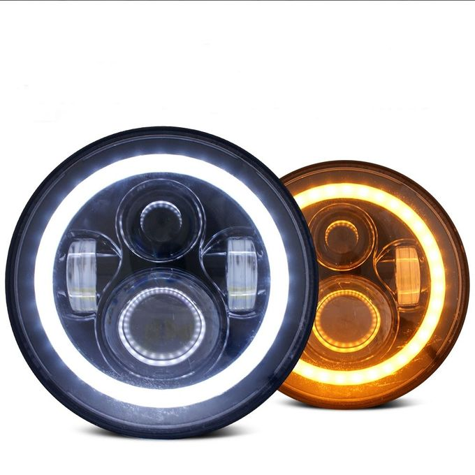 70W Motorcycle Angel Eyes Headlamp LED Headlight With High/Low Beam for Jeep Wrangler