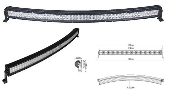 Super Slim Waterproof Curved 50 Inch 288W Offroad 12 Volt Led Light Bar With Diecast Aluminum Housing