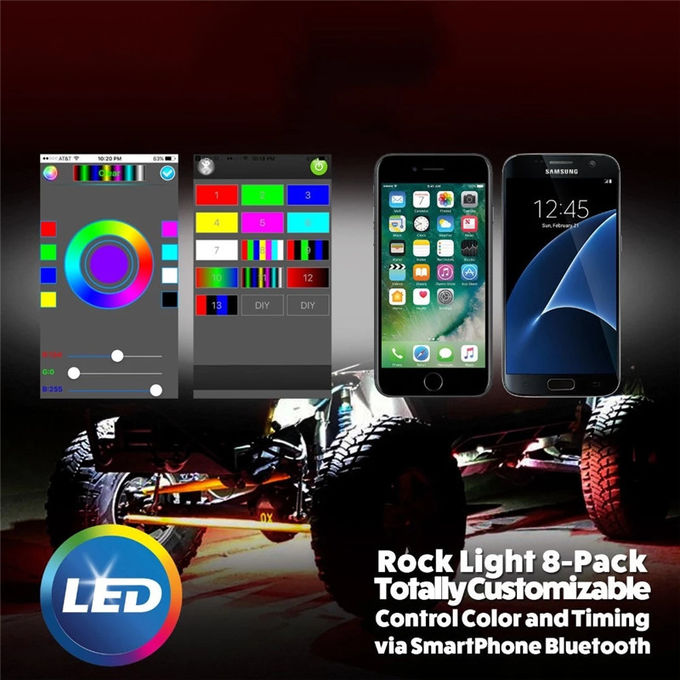 LED RGB Rock Light For Trucks Multi Color Bluetooth Control Under Car LED Underbody Lights Underglow Lights Accessories